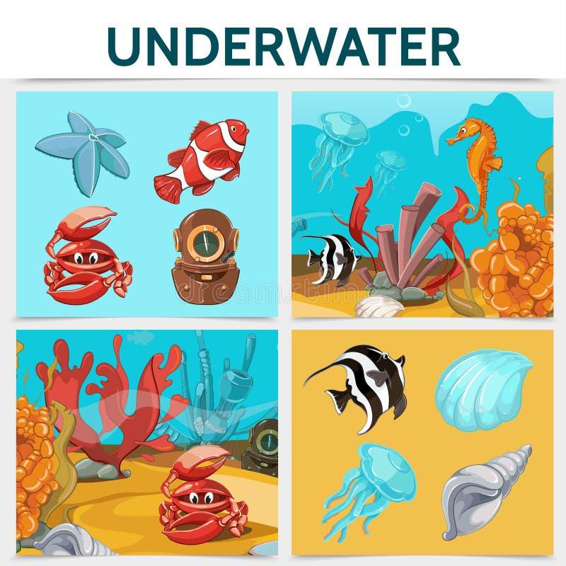 Conceito subaquático do quadrado da vida dos desenhos animados ilustração stock