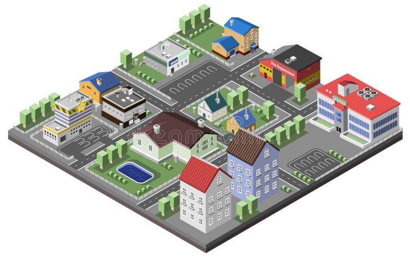 Conceito suburbano isométrico ilustração stock