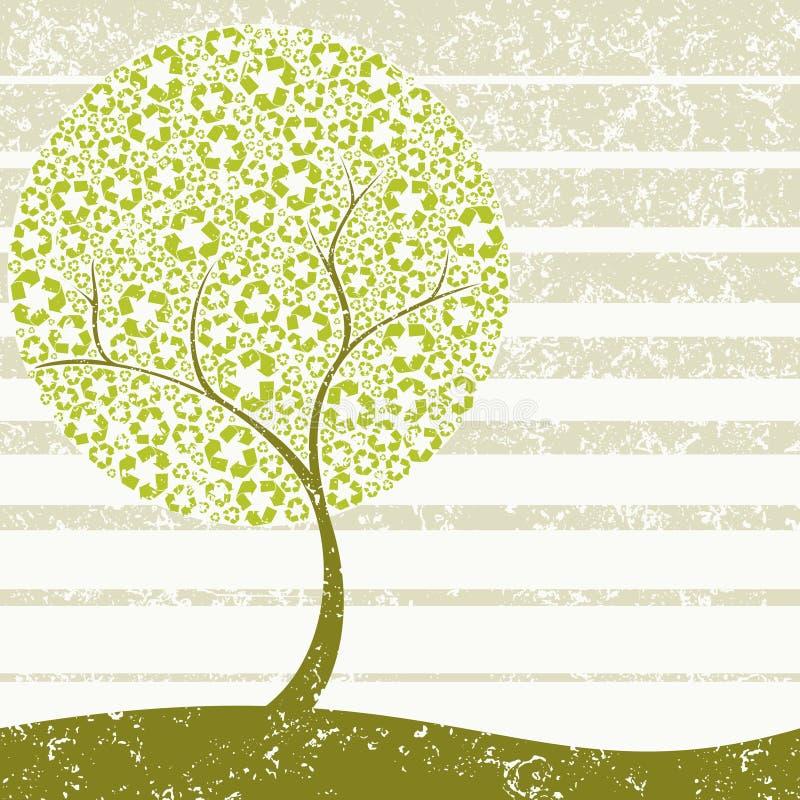 Conceito sujo da Recicl-árvore ilustração royalty free