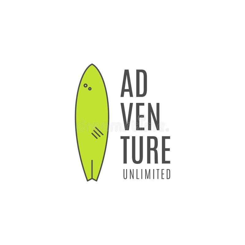 Conceito surfando do logotipo de Minimalistic Linha fina projeto liso do verão do emblema da prancha Crachá da engrenagem do surf ilustração do vetor