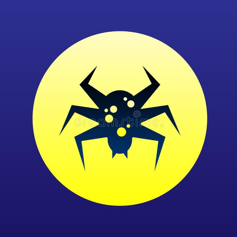 Conceito tóxico do Dia das Bruxas do ícone da aranha Símbolo liso da silhueta ilustração royalty free