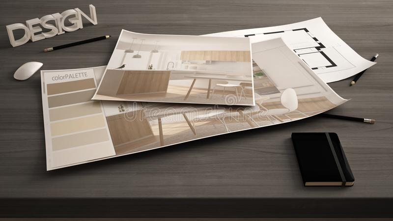 Conceito, tabela próxima acima com o esboço interior da renovação, plano e paleta de cores do desenhista do arquiteto, fundo da i fotos de stock royalty free