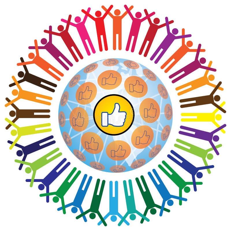 Conceito teamworking social global com símbolo semelhante ilustração royalty free