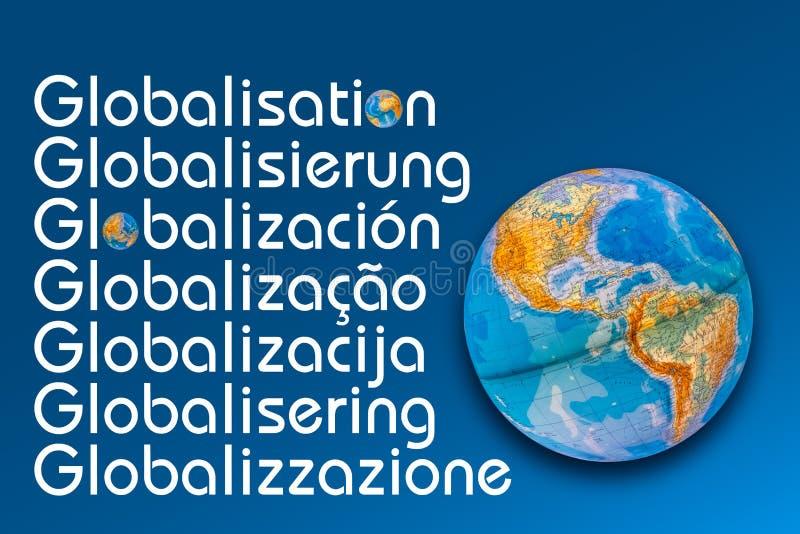Conceito tipogr?fico da globaliza??o imagens de stock