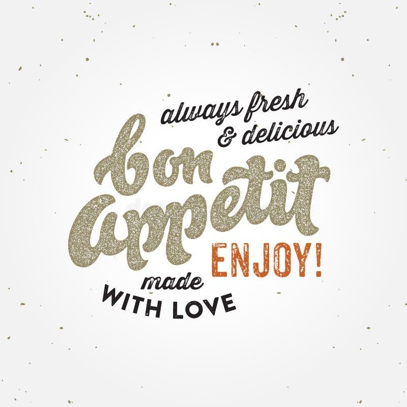 Conceito tipográfico do cartaz retro do appetit do Bon ilustração do vetor