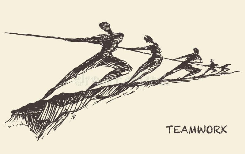 Conceito tirado da parceria dos trabalhos de equipa da equipe do vetor ilustração royalty free