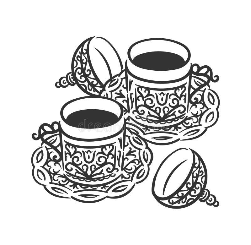 Conceito tirado mão da ilustração do vetor do ícone do símbolo do copo de café turco ilustração royalty free