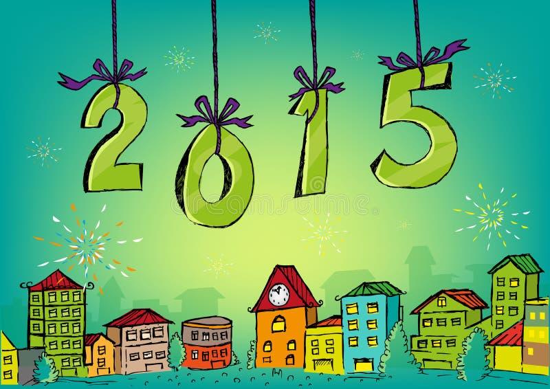 Conceito 2015 tirado mão do ano novo feliz ilustração royalty free