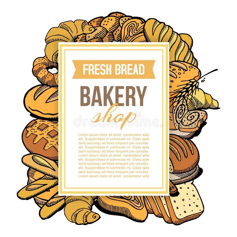Conceito tirado mão do vetor da loja da padaria com tipos diferentes de bens do pão fresco e do bakig Isolado no cartaz branco ilustração royalty free