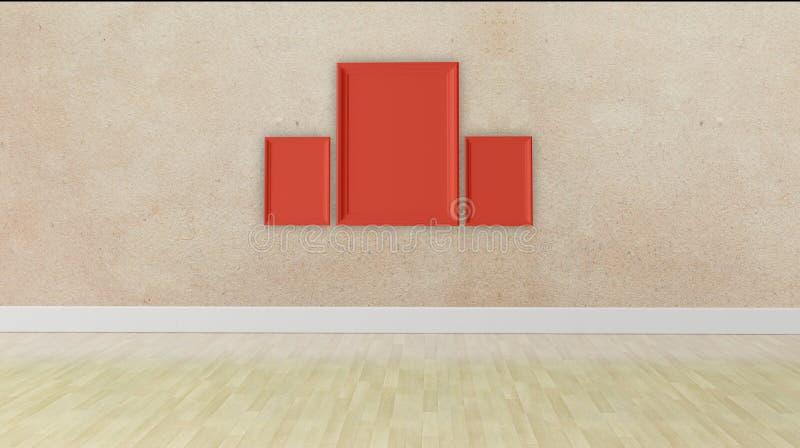 Conceito vazio do quadro três, textura da parede do grunge foto de stock