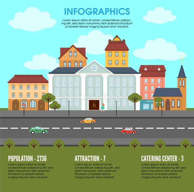 Conceito velho de Infographic dos elementos da paisagem da cidade ilustração do vetor