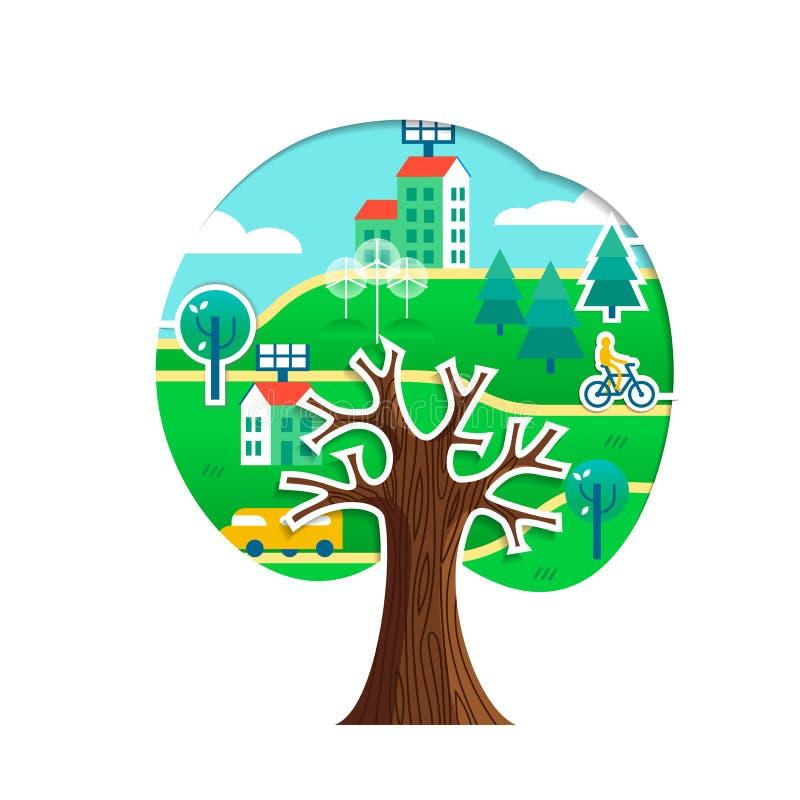 Conceito verde da árvore da cidade para o cuidado do ambiente ilustração stock