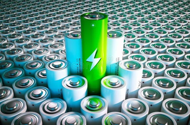 Conceito verde da bateria ilustração stock