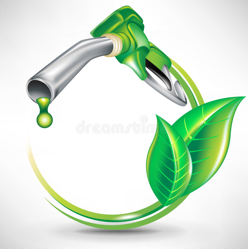 Conceito verde da energia; bocal da bomba de gás ilustração stock