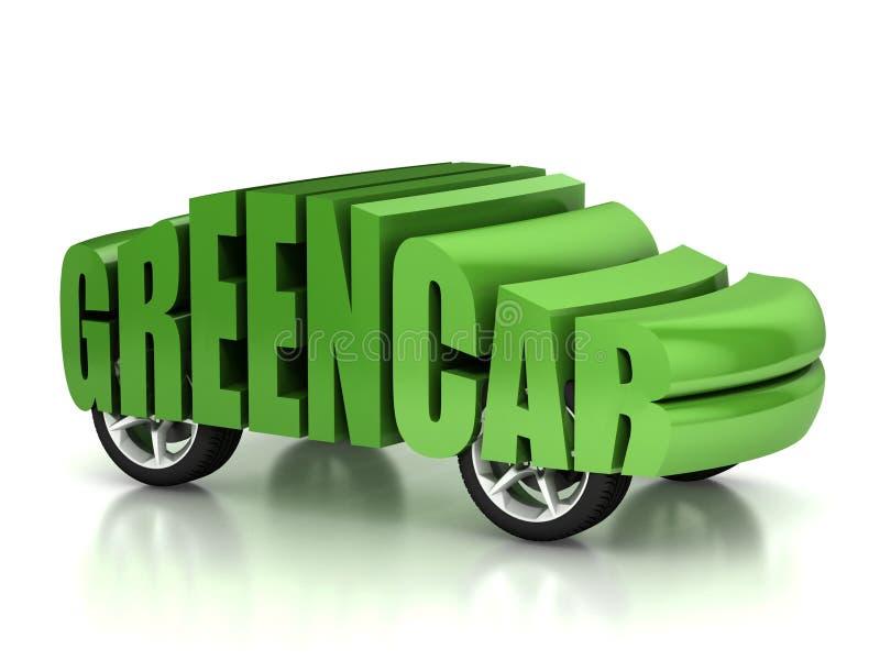 Conceito verde do carro 3d ilustração royalty free