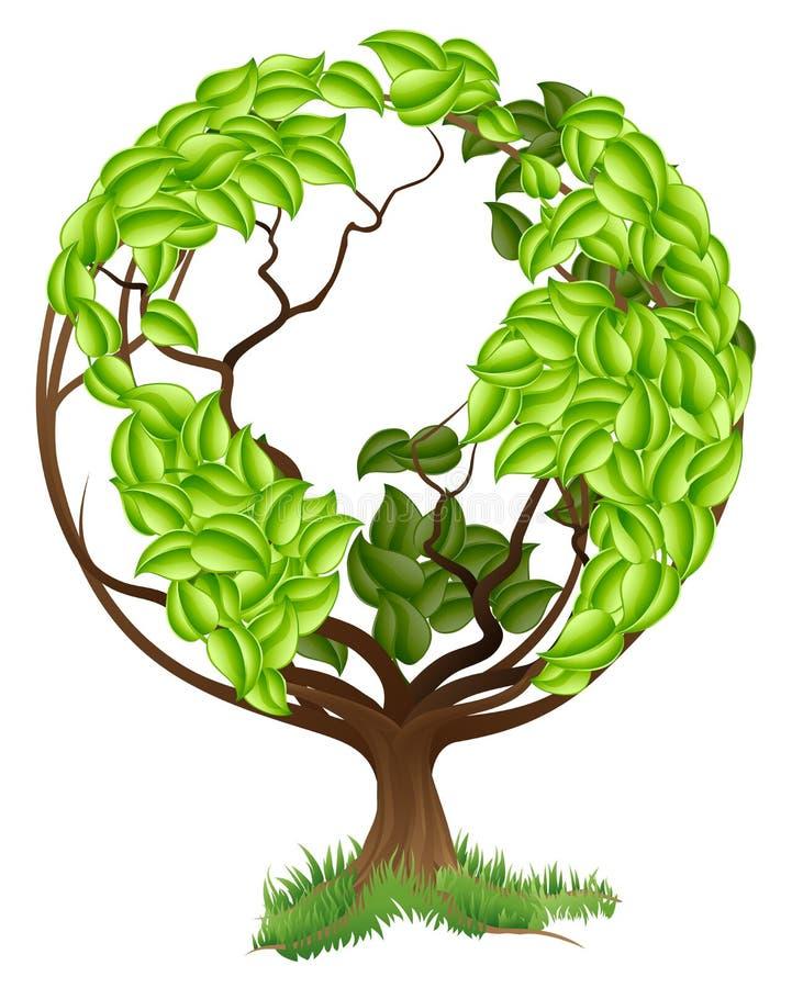 Conceito verde do mundo da terra do globo da árvore ilustração royalty free