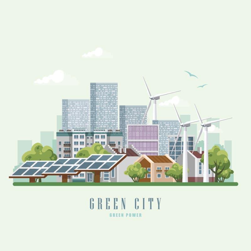 Conceito verde do vetor da cidade do eco Infographic com grupo de construções, de infraestrutura, de tecnologia moderna e de plan ilustração royalty free