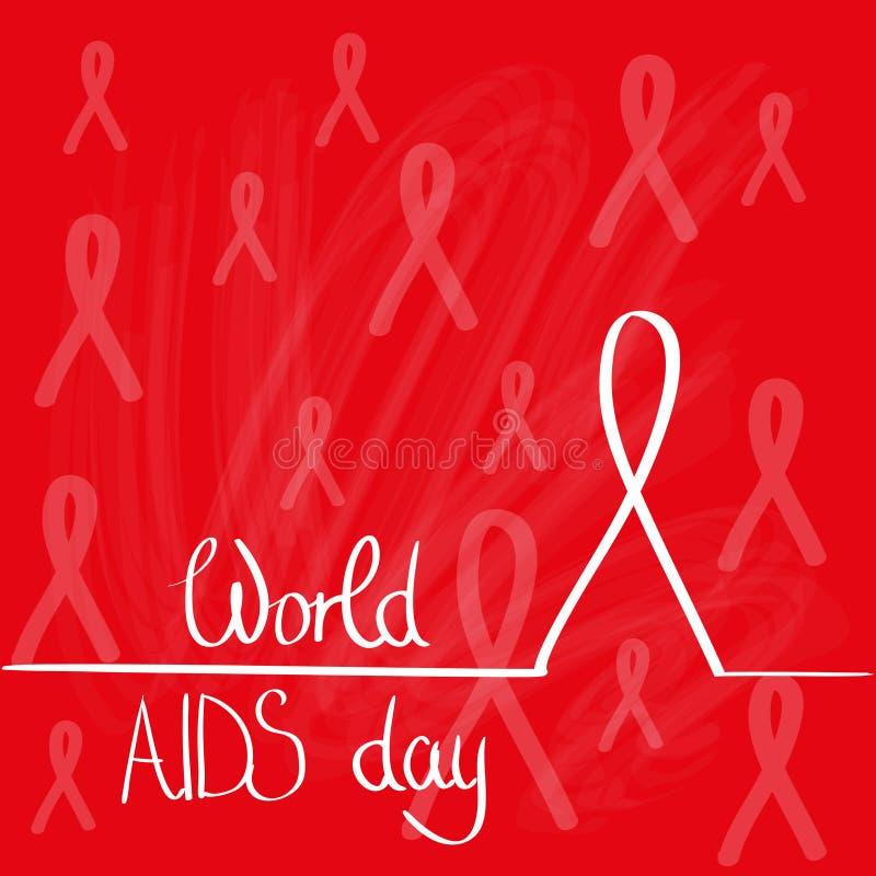 Conceito vermelho da fita da conscientização do Dia Mundial do Sida ilustração stock