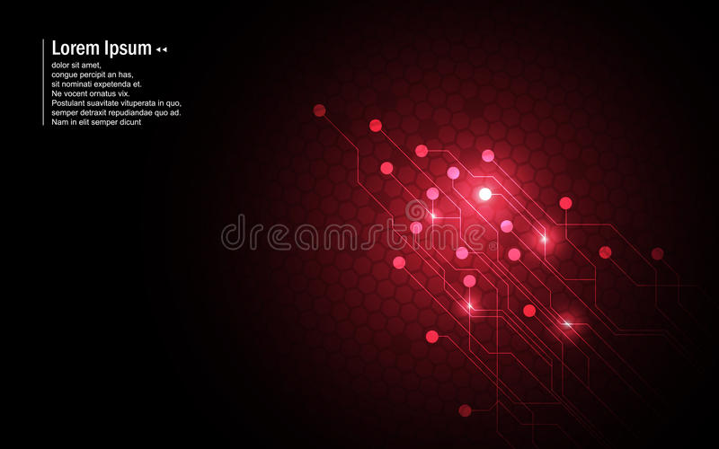 Conceito vermelho da inovação da tecnologia de design do teste padrão do hexágono do circuito do fundo abstrato ilustração royalty free