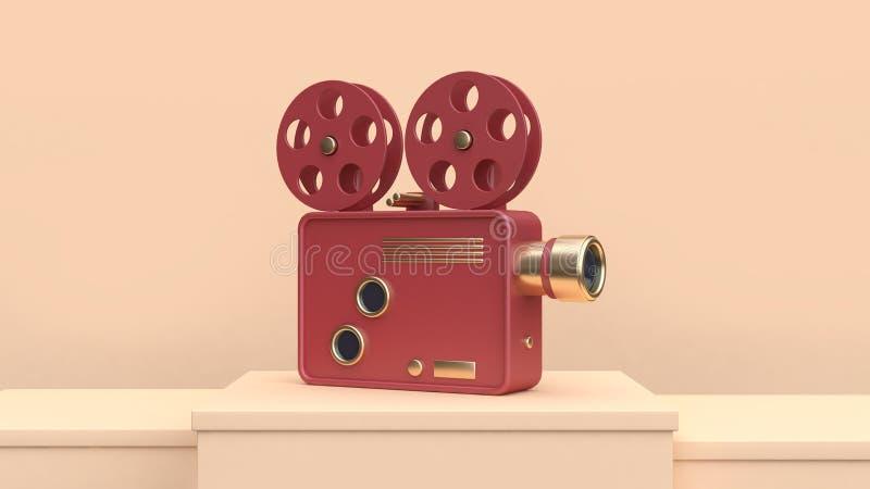 conceito vermelho da tecnologia da cena do creme do projetor do cinema do ouro da rendição 3d ilustração stock