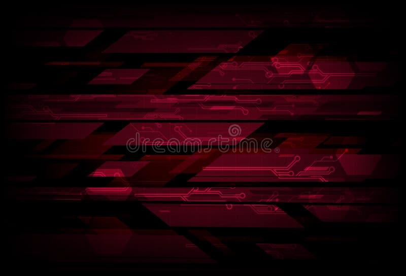 Conceito vermelho digital do circuito da tecnologia, backgro do sumário do polígono ilustração stock