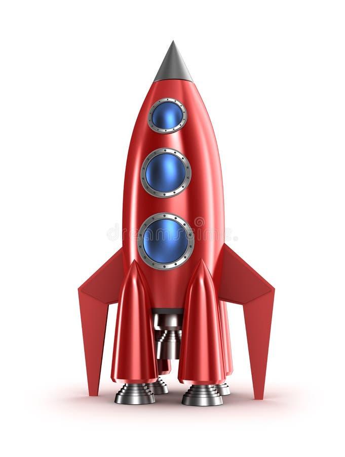 Conceito vermelho retro do foguete. no branco. ilustração royalty free