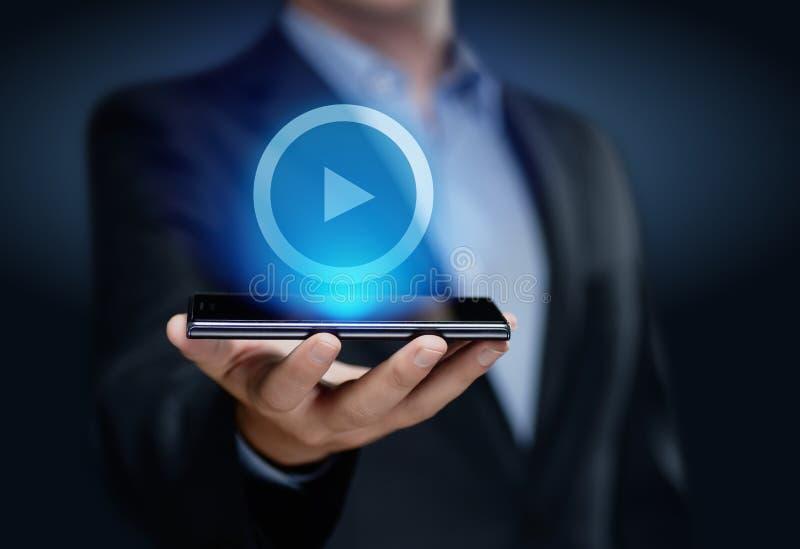 Conceito video da tecnologia de Internet do negócio de propaganda do mercado fotos de stock