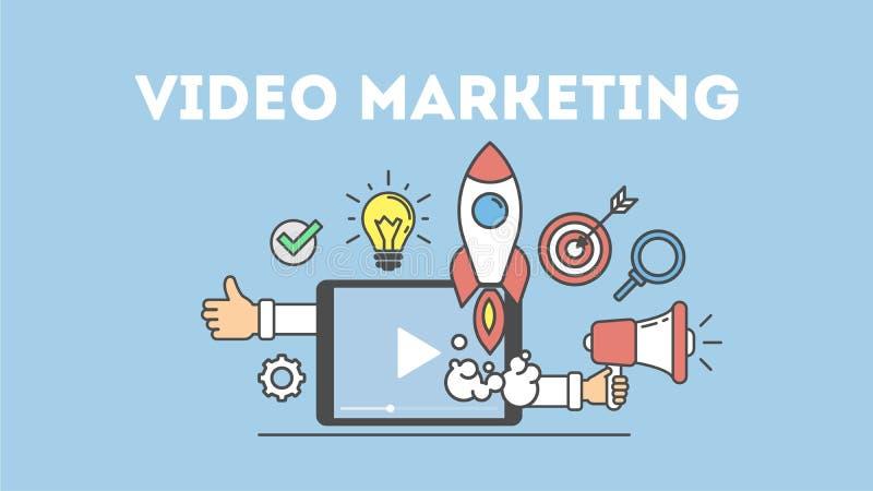 Conceito video do mercado ilustração stock