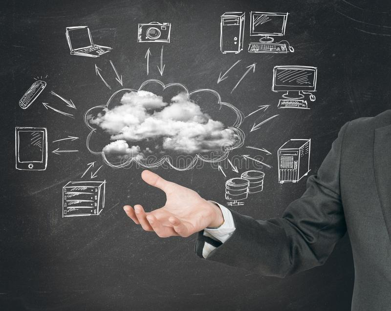Conceito virtual da rede da nuvem