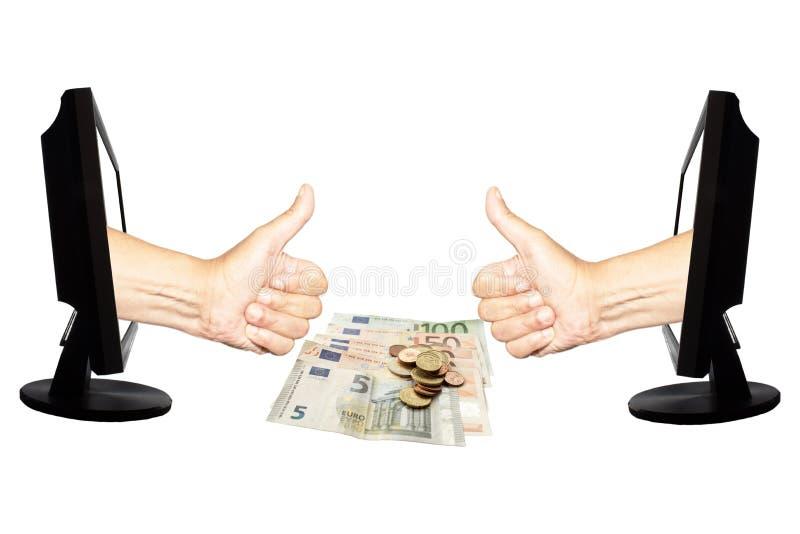 Conceito virtual 10 do negócio do Internet do número um - team o sucesso do trabalho no fundo branco com dinheiro - foto de stock