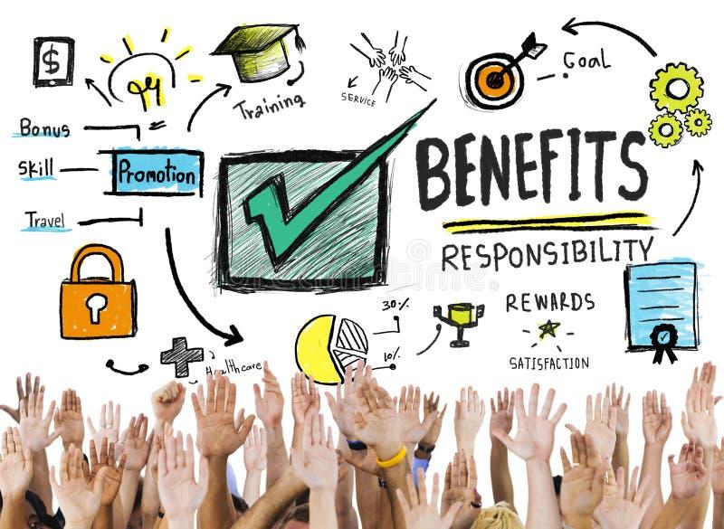 Conceito voluntário das mãos da renda do salário do lucro do ganho dos benefícios ilustração do vetor