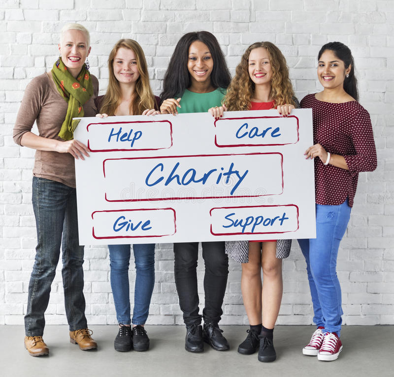 Conceito voluntário Fundraising das doações da comunidade imagens de stock