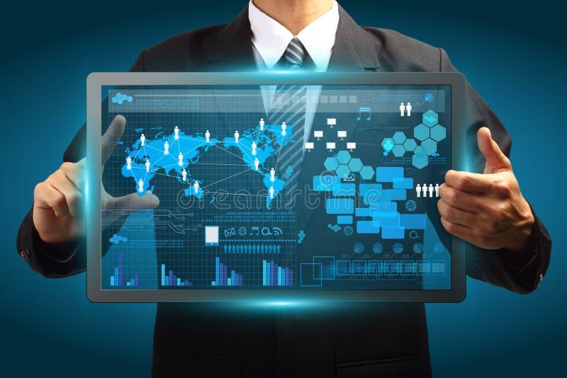 Conceito vurtual digital do negócio da tecnologia da tela do ecrã táctil ilustração do vetor