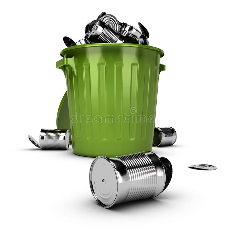 Conceito Waste, escaninho de lixo de transbordamento ilustração royalty free
