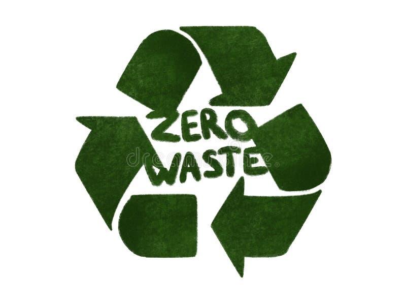 Conceito waste zero Recicl Setas verdes no ícone do triângulo, isolador ilustração royalty free