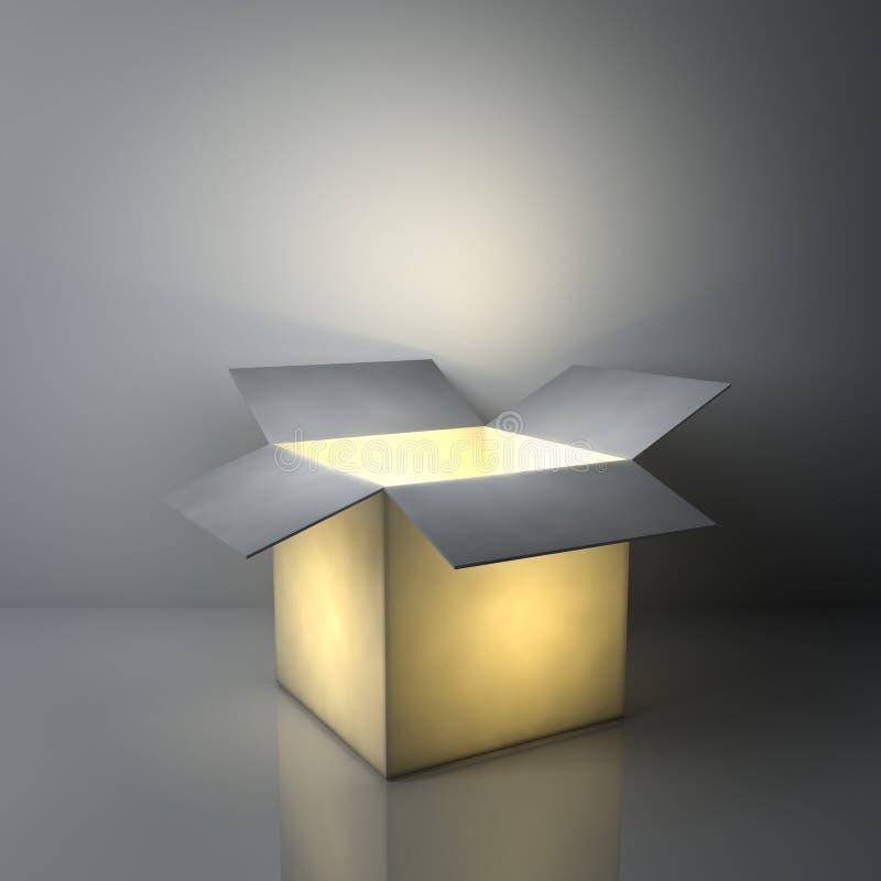 Conceitos criativos da ideia, uma caixa leve aberta luminosa que incandesce no fundo cinzento escuro ilustração do vetor