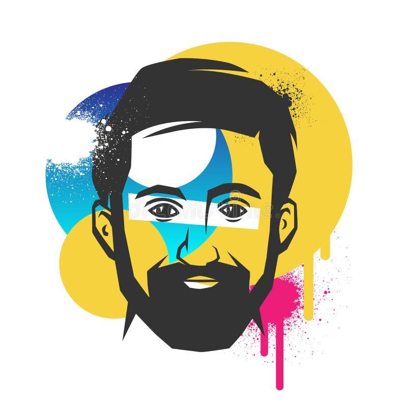 Conceitos criativos de uma cara ilustração stock