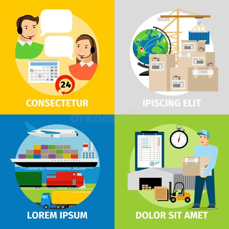 Conceitos da logística A rede, o armazém e a entrega logísticos mundiais vector a ilustração ilustração stock