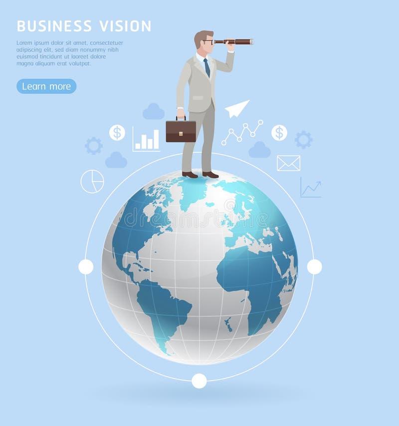Conceitos da visão do negócio Homem de negócios que está com binóculos o ilustração do vetor