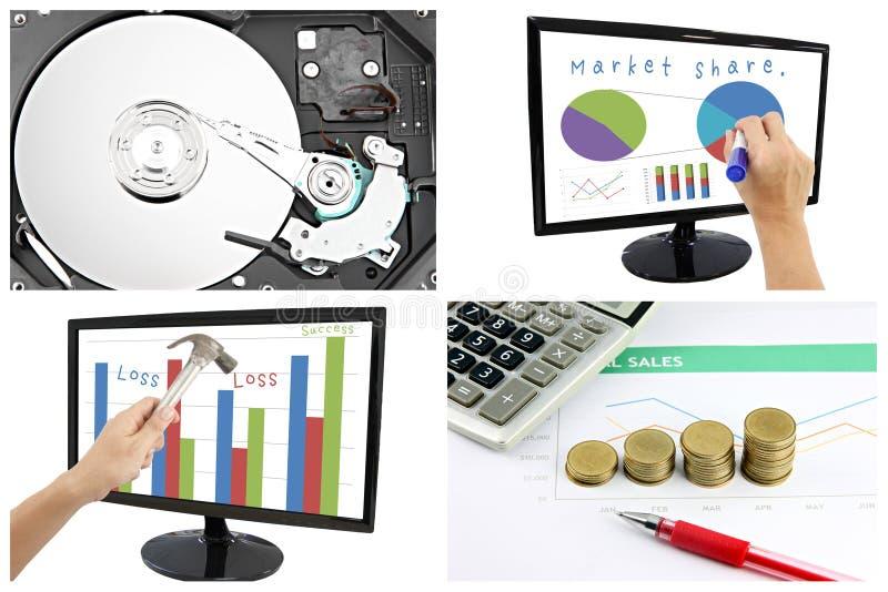 Conceitos de dados do lucro e da parte no negócio. foto de stock royalty free