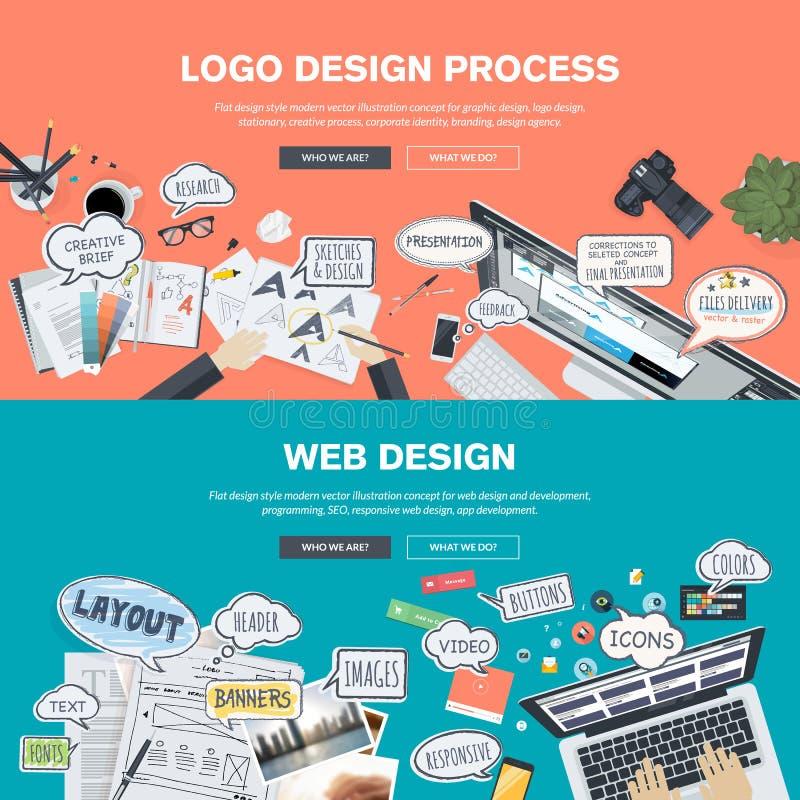 Conceitos de projeto lisos para o desenvolvimento do projeto e do design web do logotipo ilustração do vetor