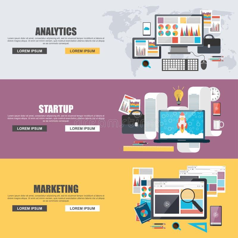 Conceitos de projeto lisos para o mercado, a analítica, os trabalhos de equipa, a análise, a estratégia e a partida do negócio ilustração stock