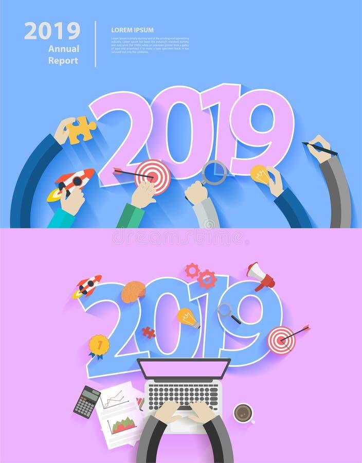 Conceitos de projeto lisos pela análise de negócio e o ano novo planejando 2019 ilustração do vetor