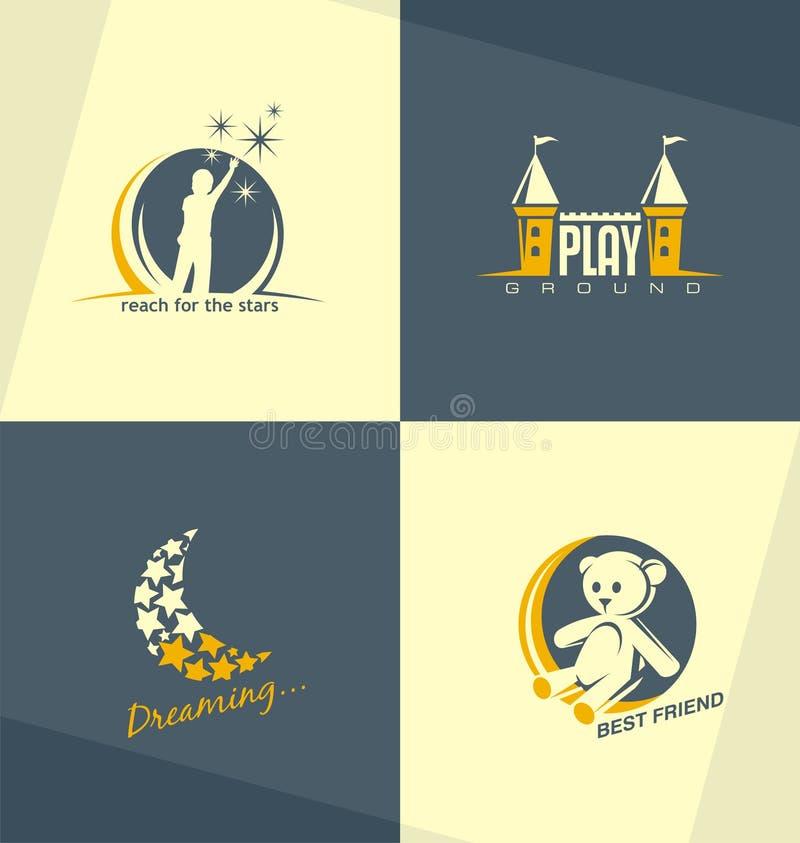 Conceitos de projeto originais e minimalistic do logotipo das crianças ilustração royalty free