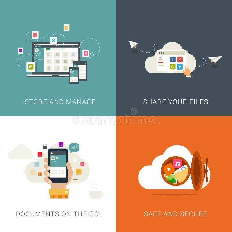 Conceitos de projetos lisos do estilo para serviços da nuvem e gestão de arquivo ilustração do vetor
