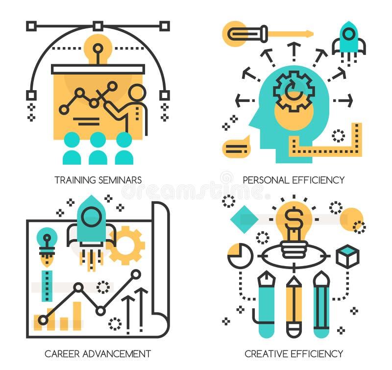 Conceitos de seminários de treinamento, eficiência pessoal ilustração do vetor