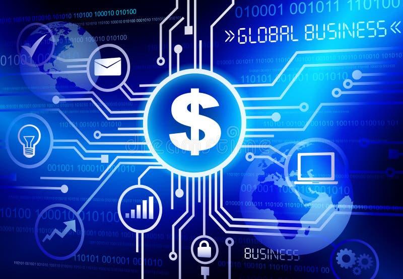 Conceitos de sistema do fluxograma do negócio global ilustração royalty free