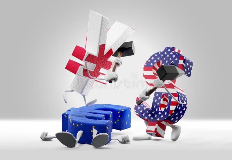Conceitos do dinheiro moeda de queda do Euro e ienes e dólar de combate 3D-Illustration ilustração royalty free