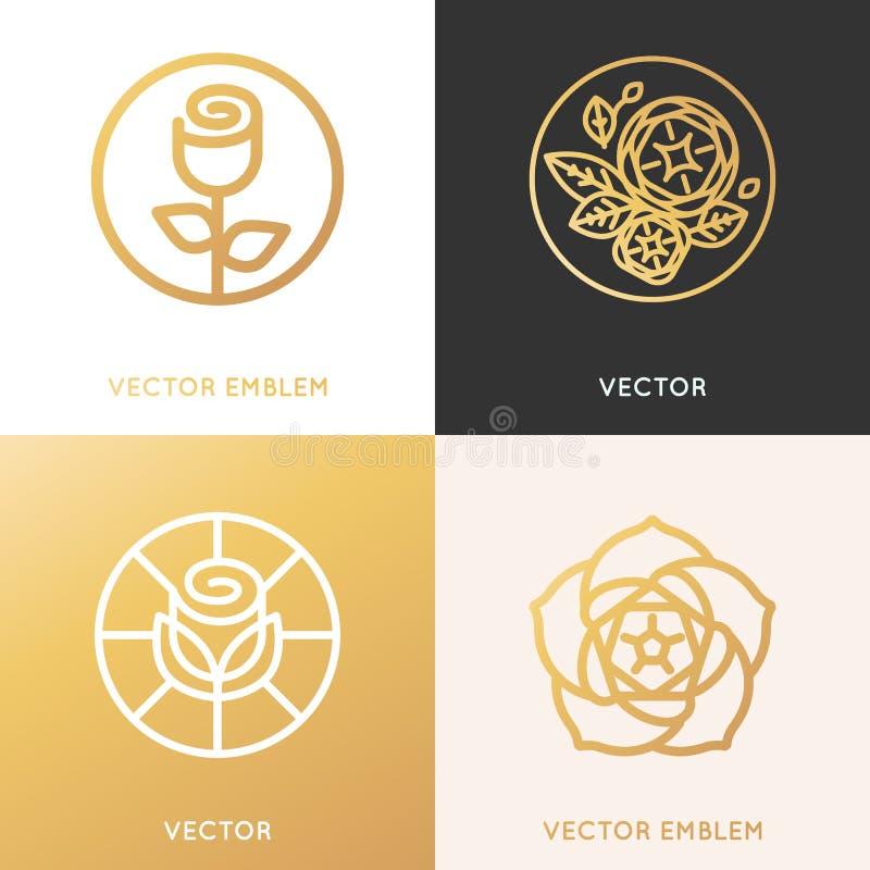 Conceitos do molde e do monograma do projeto do logotipo do vetor na linha na moda ilustração do vetor