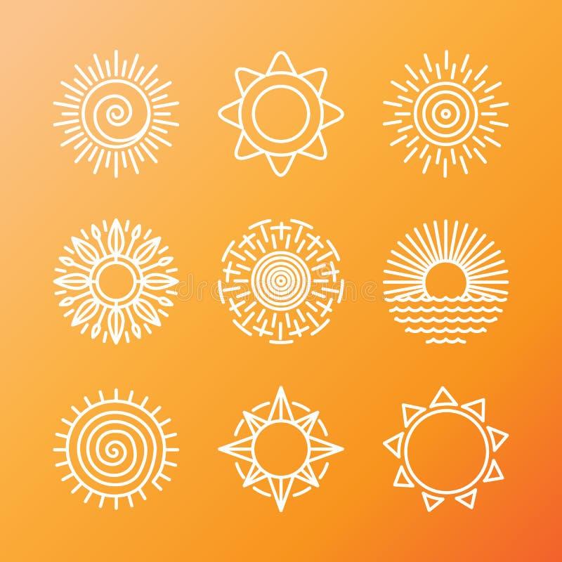 Conceitos do verão do vetor no estilo linear ilustração do vetor